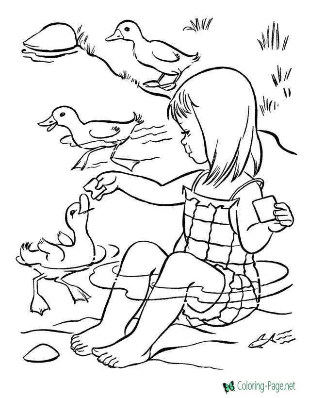 Summer Coloring Pages Girl Feeds Ducks