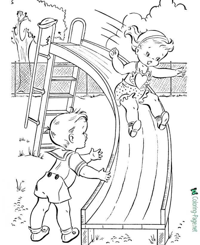Summer Coloring Pages Girl on Slide