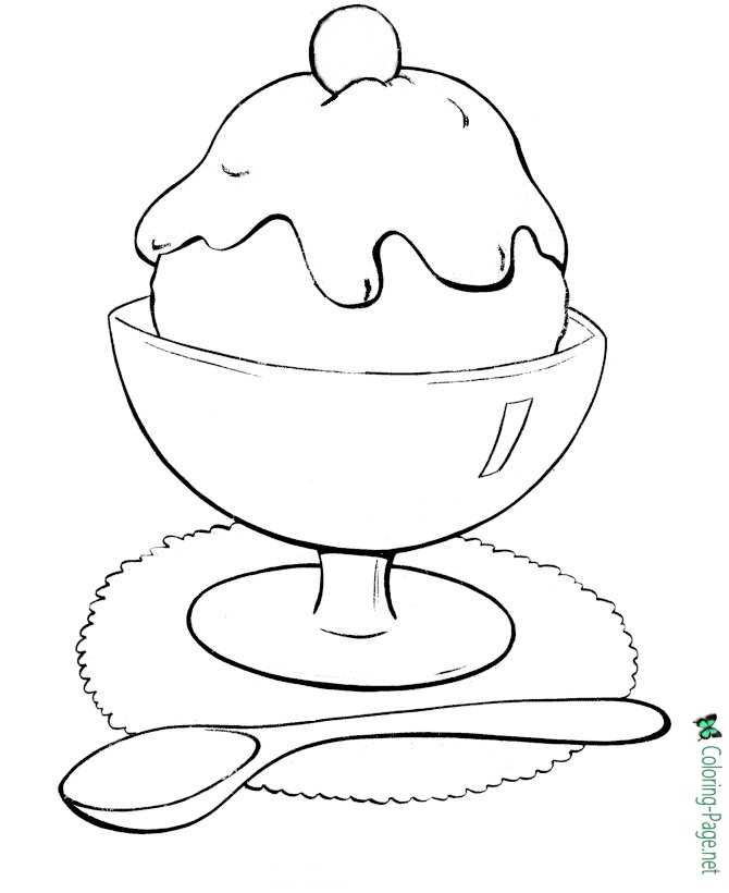 Summer Coloring Pages Ice Cream Treat