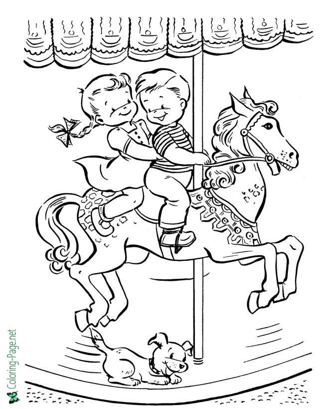 Summer Coloring Pages Girl Boy on Horse