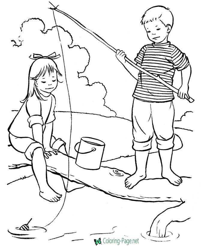 Summer Coloring Pages Girl Boy Catch Fish