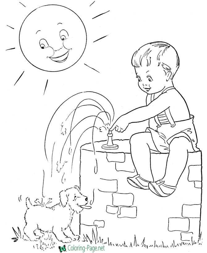 Summer Coloring Pages Dog needs Water