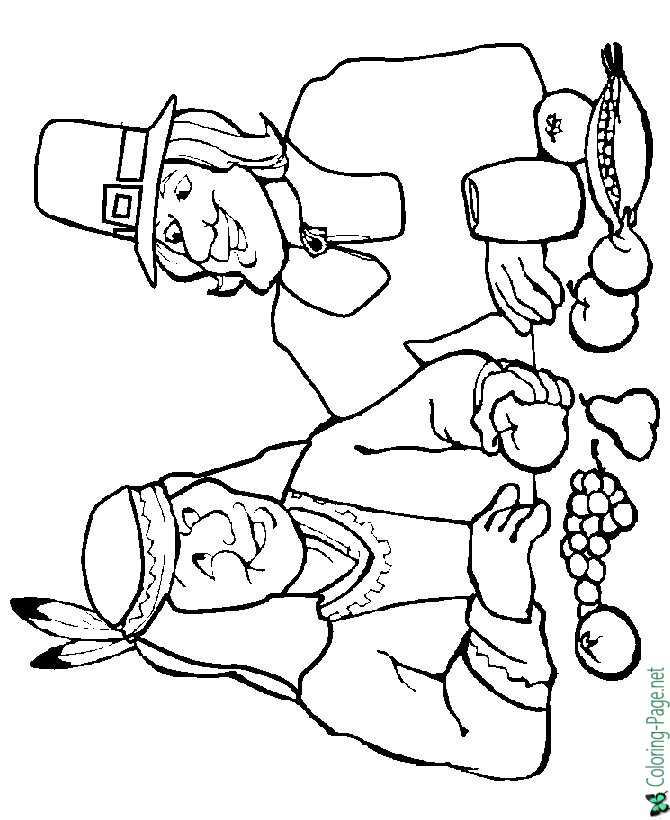 Thanksgiving Coloring Pages Pilgrim Native American