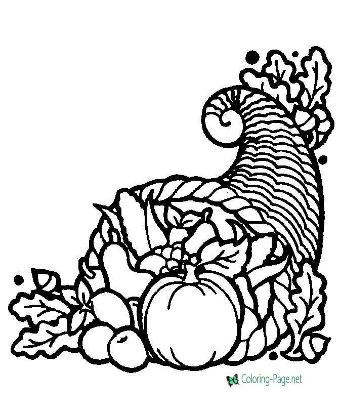 Thanksgiving Coloring Pages Cornucopia