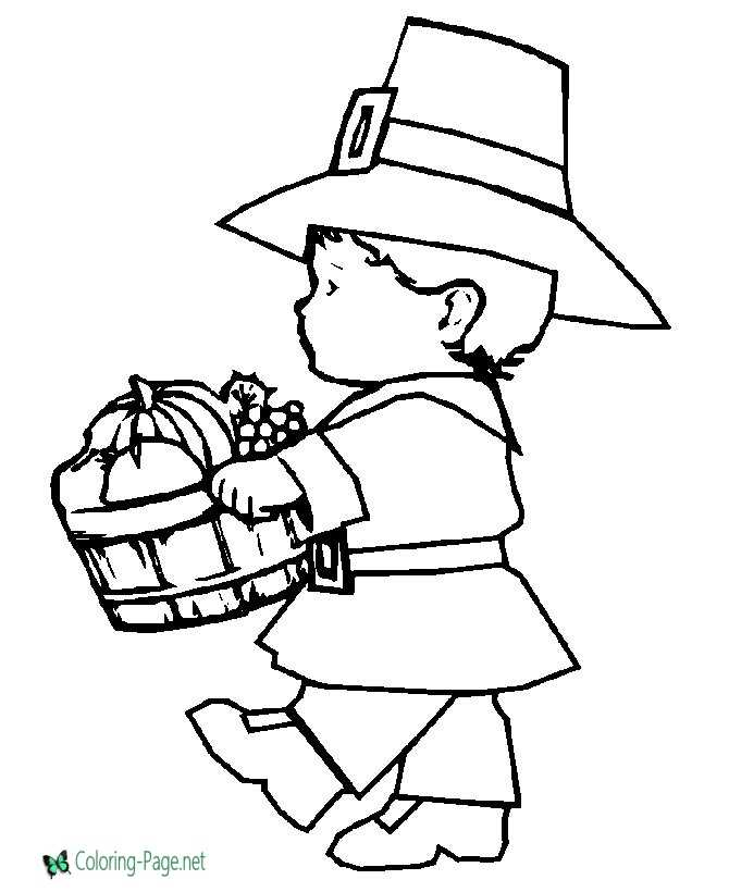 Thanksgiving Coloring Pages Little Pilgrim