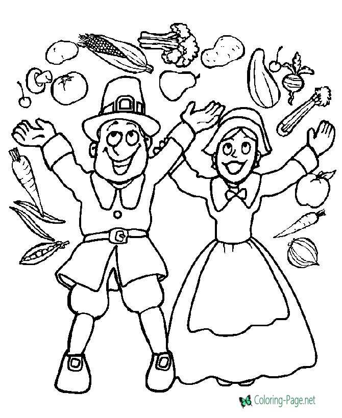 Thanksgiving Coloring Pages Pilgrim Food Picture