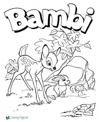 Bambi coloring pages fairy tale