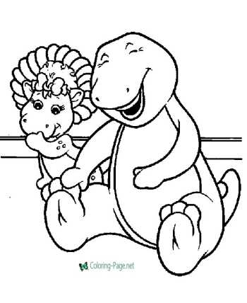 Barney cartoon coloring pages