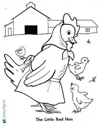 Little Red Hen fairy tale coloring pages