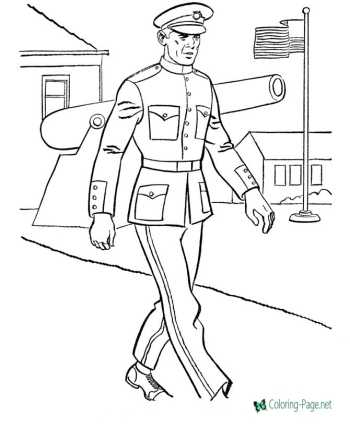 Military America coloring pages