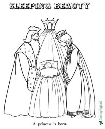 Sleeping Beauty fairy tale coloring pages