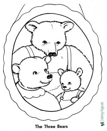 The Three Bears fairy tale coloring pages