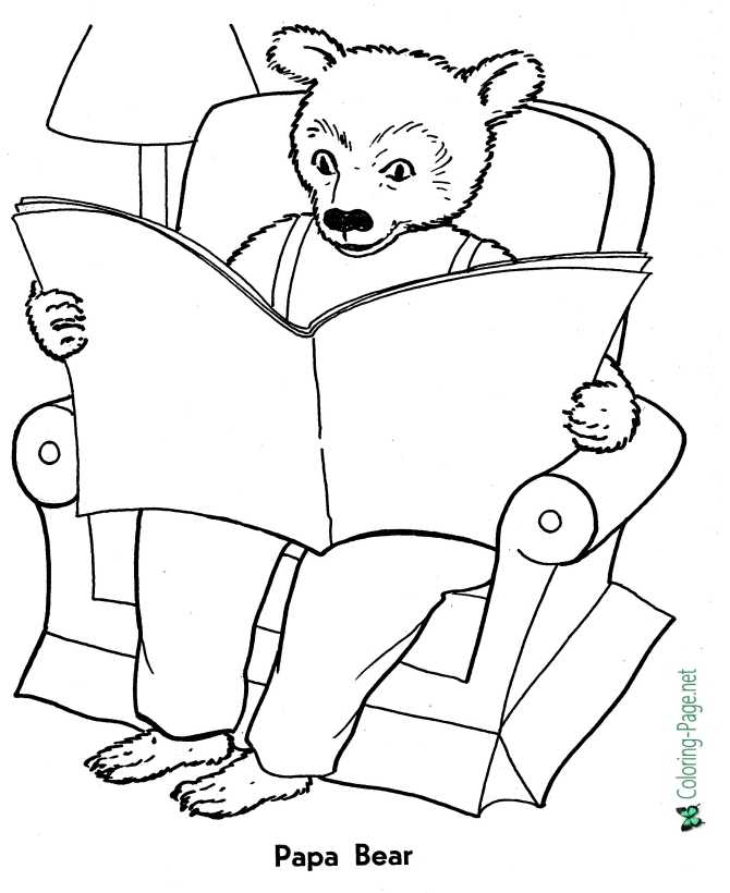 goldilocks and three bears coloring page for children