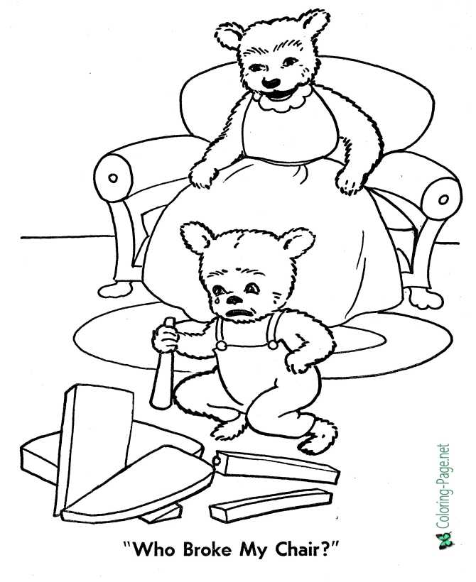 printable goldilocks and three bears coloring pages