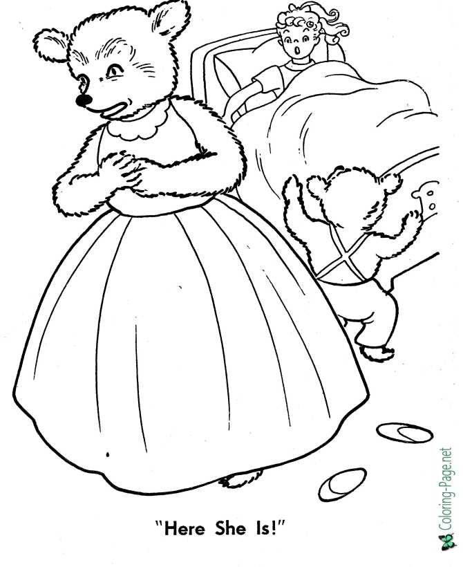 goldilocks and three bears color sheet pictures