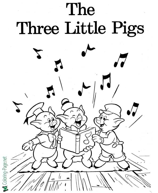 print three little pigs coloring page