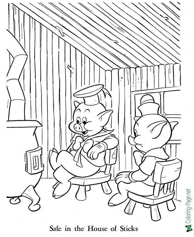 three little pigs pictures to color