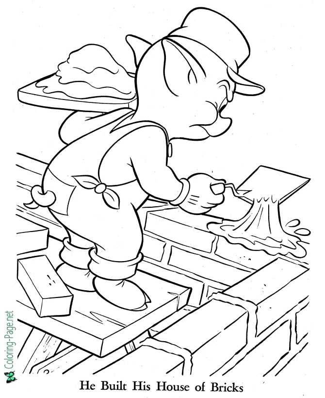 printable three little pigs coloring pages