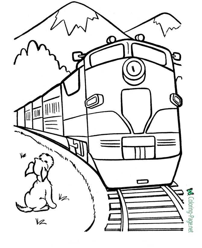 Dog And Train Coloring Page
