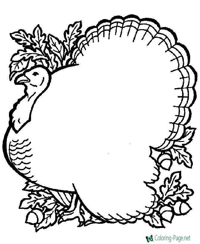 Coloring Page Printable Turkey