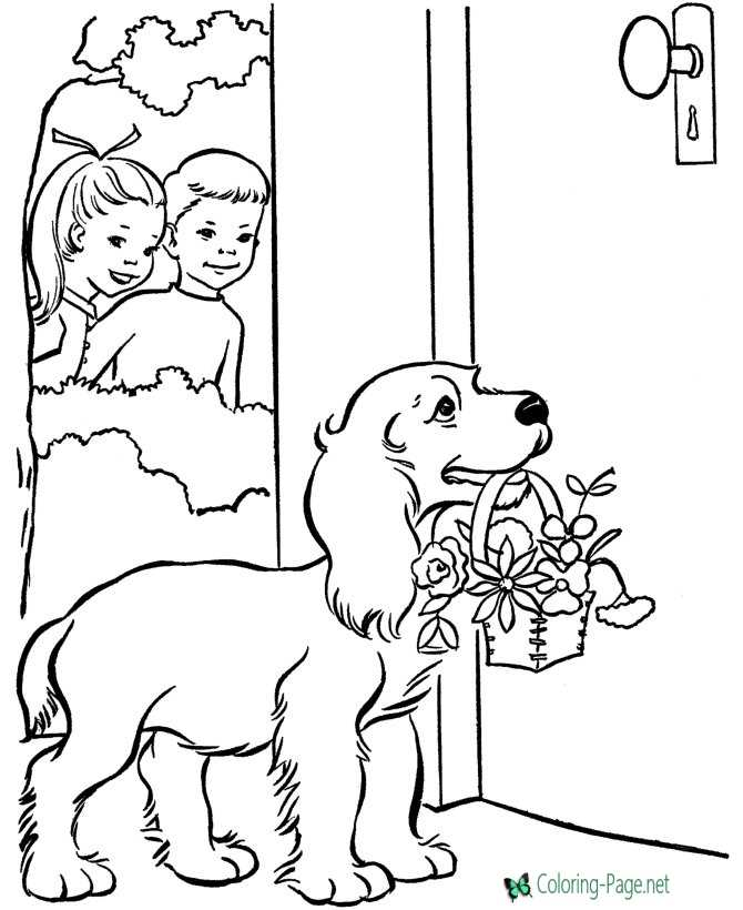 Dog and Valentine Flower Coloring Pages
