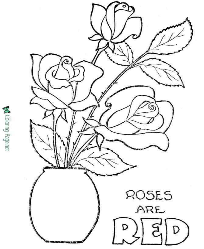 Valentines flowers coloring pages