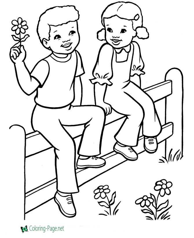 Valentine Flower Coloring Pages Girl and Boy