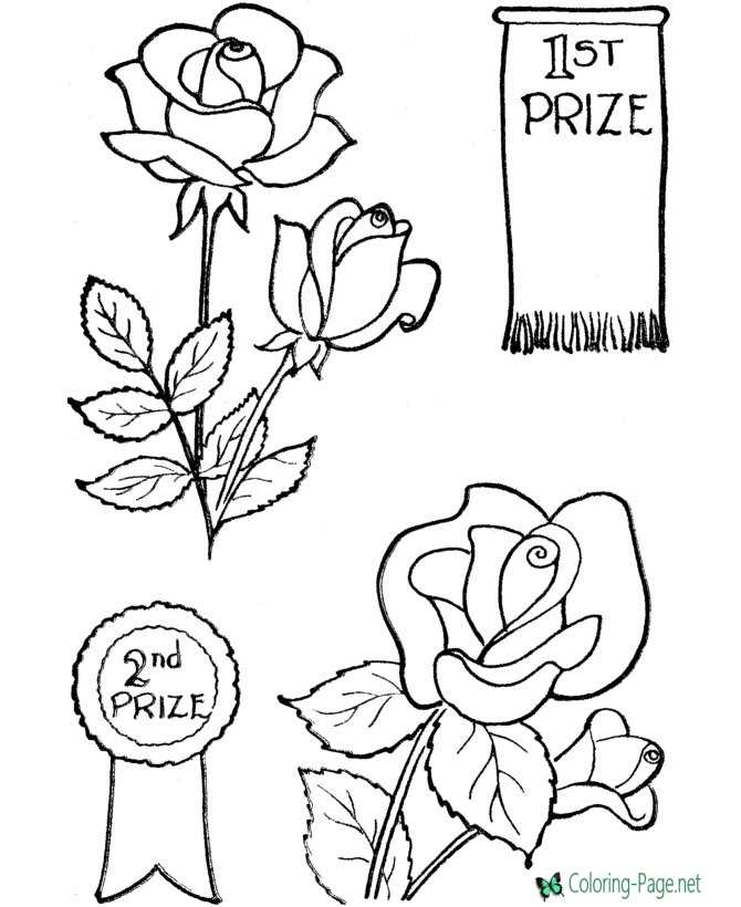 Valentines flowers coloring page