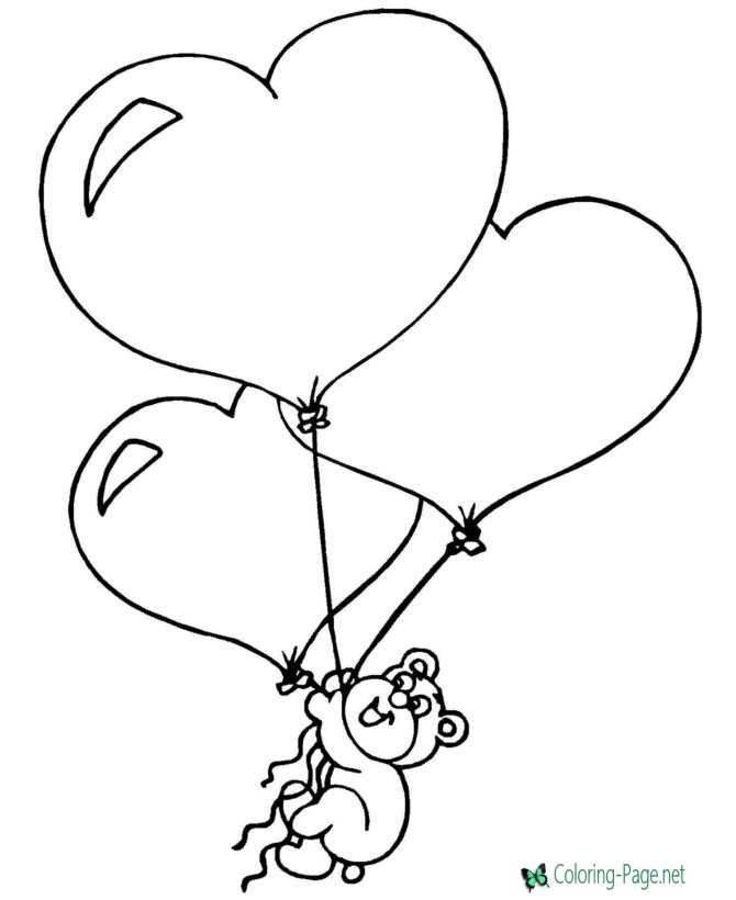 Bear and Valentine Heart Coloring Pages
