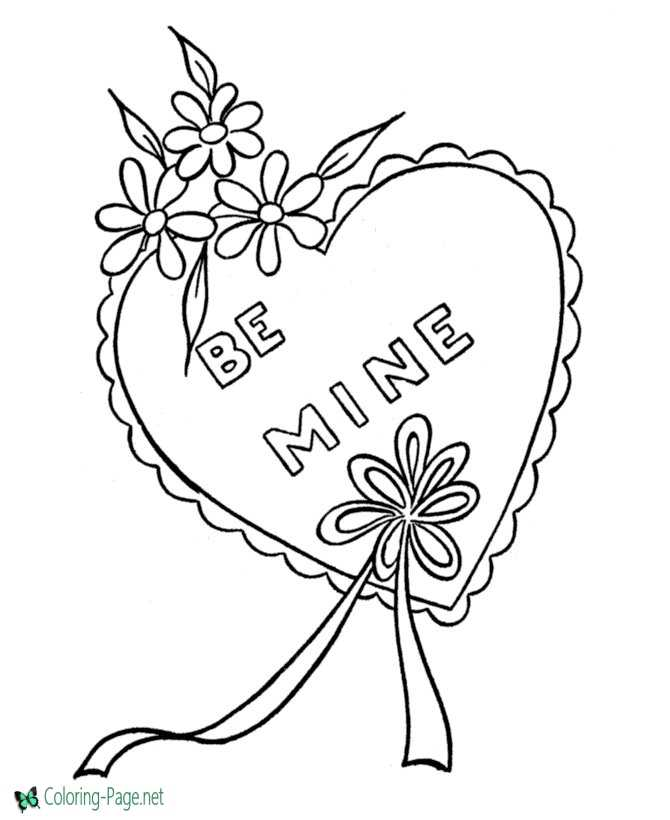Valentine Heart Coloring Pages Be Mine