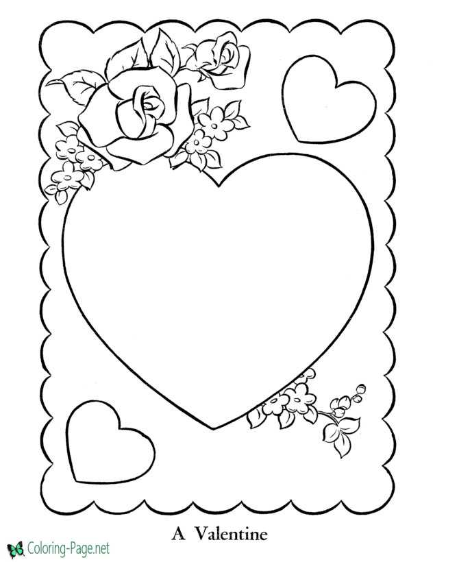 - Valentine Heart Coloring Pages Roses And Hearts