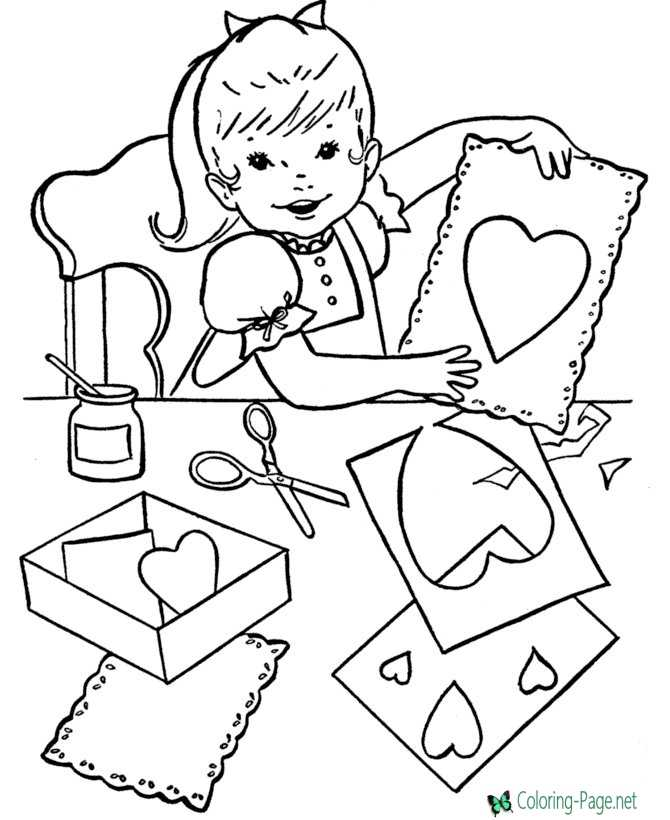 Valentines hearts coloring page