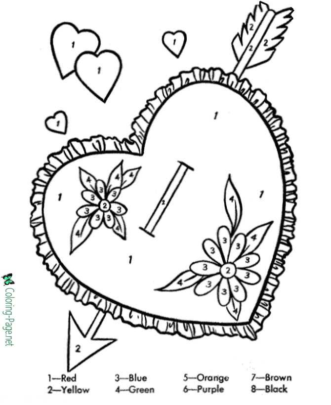 Valentine Heart Coloring Pages Color by Number