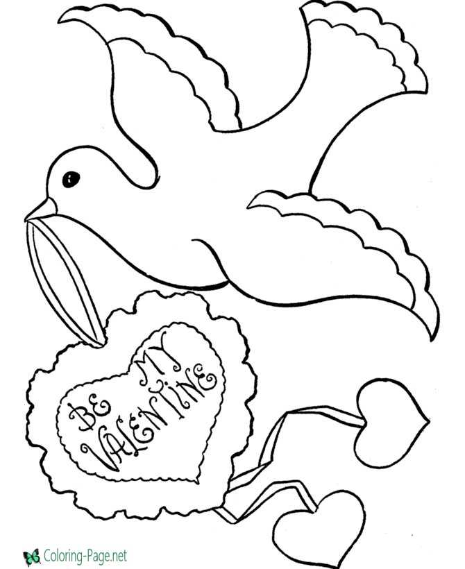 Valentine´s Day Coloring Pages Birds Hearts