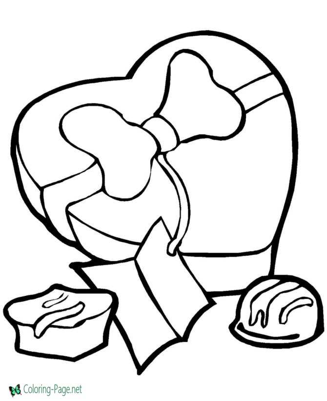 Valentine candy coloring pages
