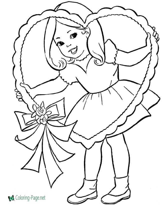 Valentine´s Day Coloring Pages Girls Heart to Color