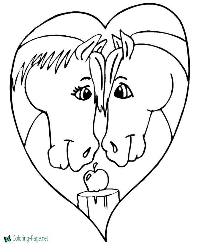 Valentine´s Day Coloring Pages Girls Two Horses