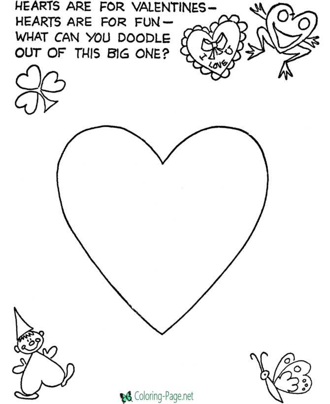 Valentines heart coloring page