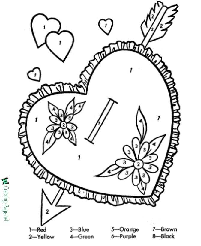 Color by Number Valentine´s Day Coloring Pages
