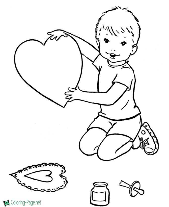 Boy Heart Valentine´s Day Coloring Pages