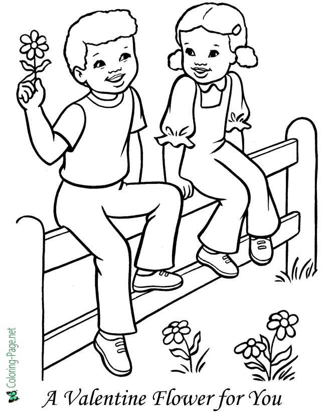 Valentine Flower Valentine´s Day Coloring Pages