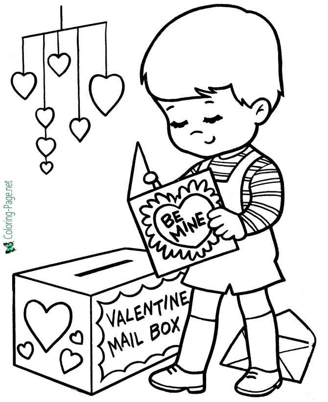 Valentine Card Valentine´s Day Coloring Pages