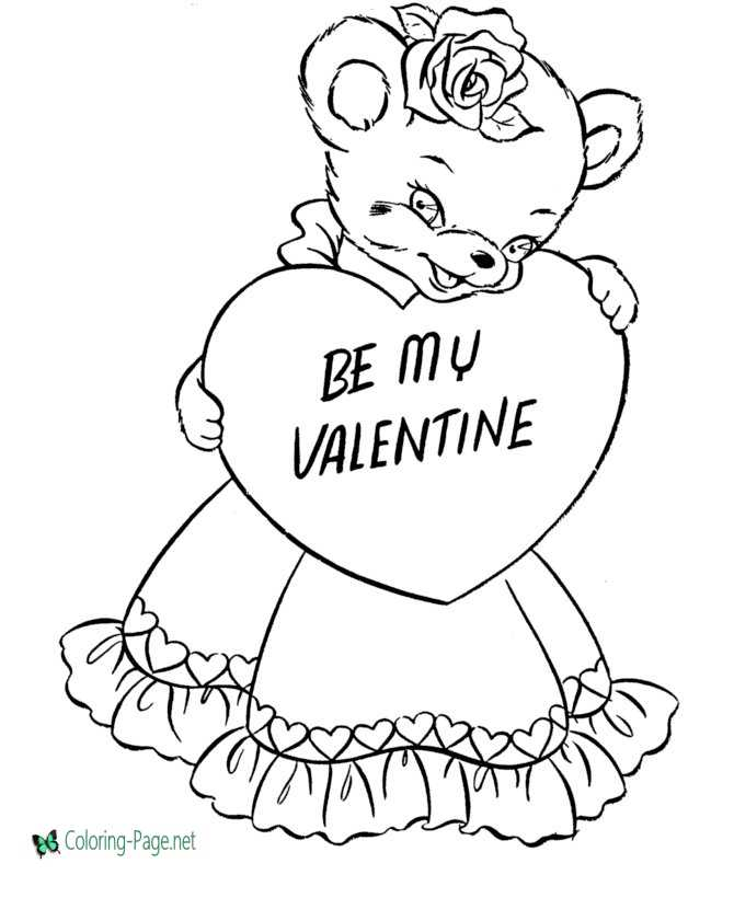 Girl Bear Valentine´s Day Coloring Pages