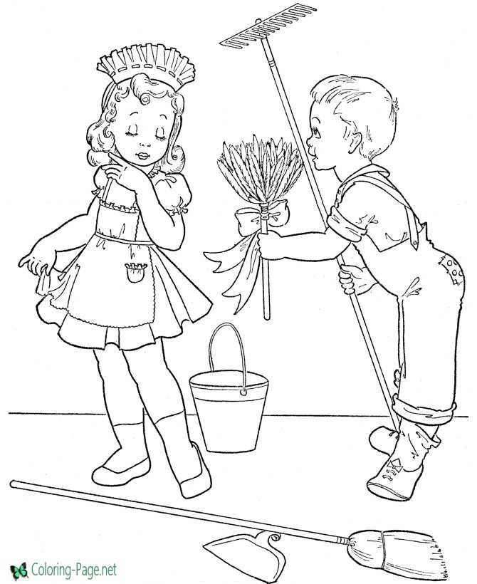 Valentine´s Day Coloring Pages Girl and Boy
