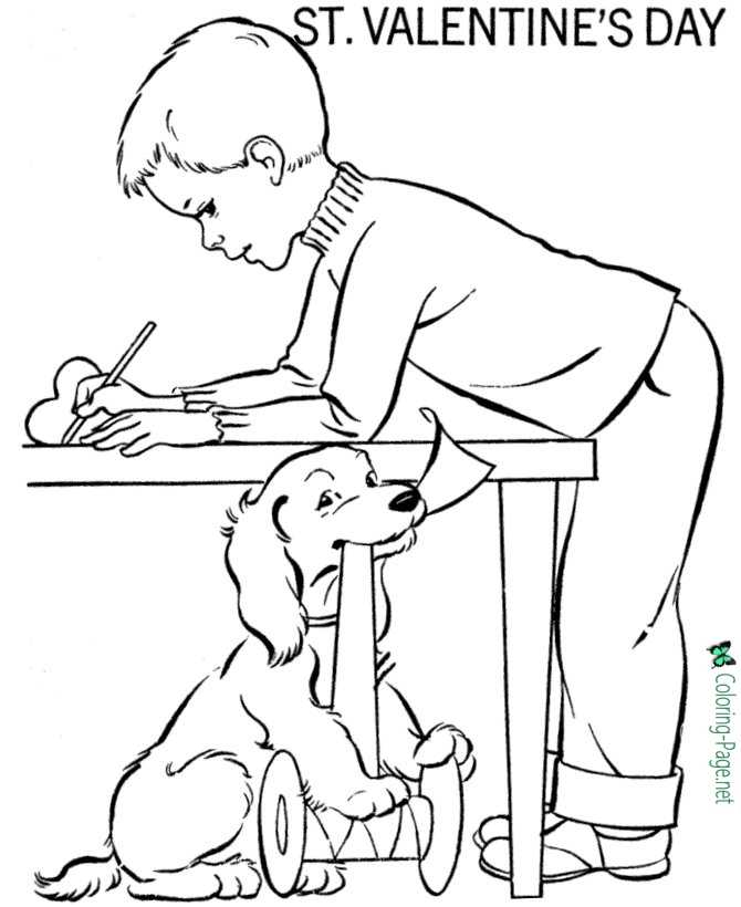 Valentine´s Day Coloring Pages Dog and Boy