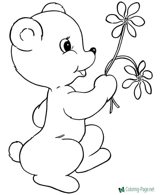 Valentine´s Day Coloring Pages Flowers and Bear