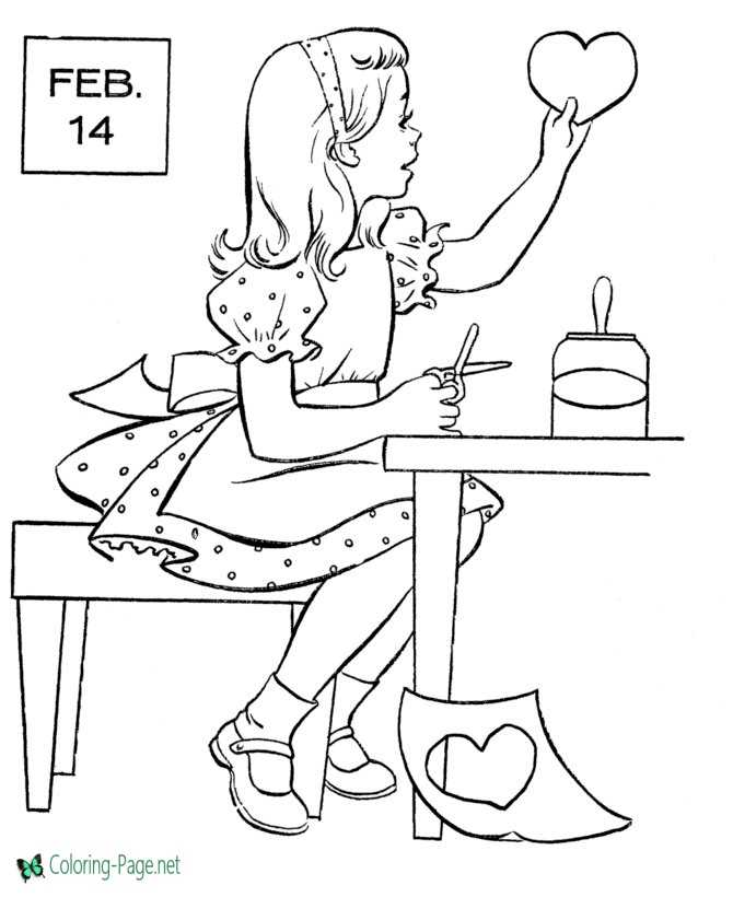 Valentine´s Day Coloring Pages Girls make Heart