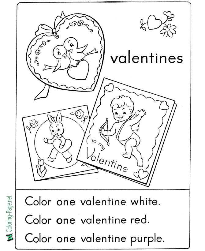 Valentine´s Day Coloring Pages Girls Worksheet