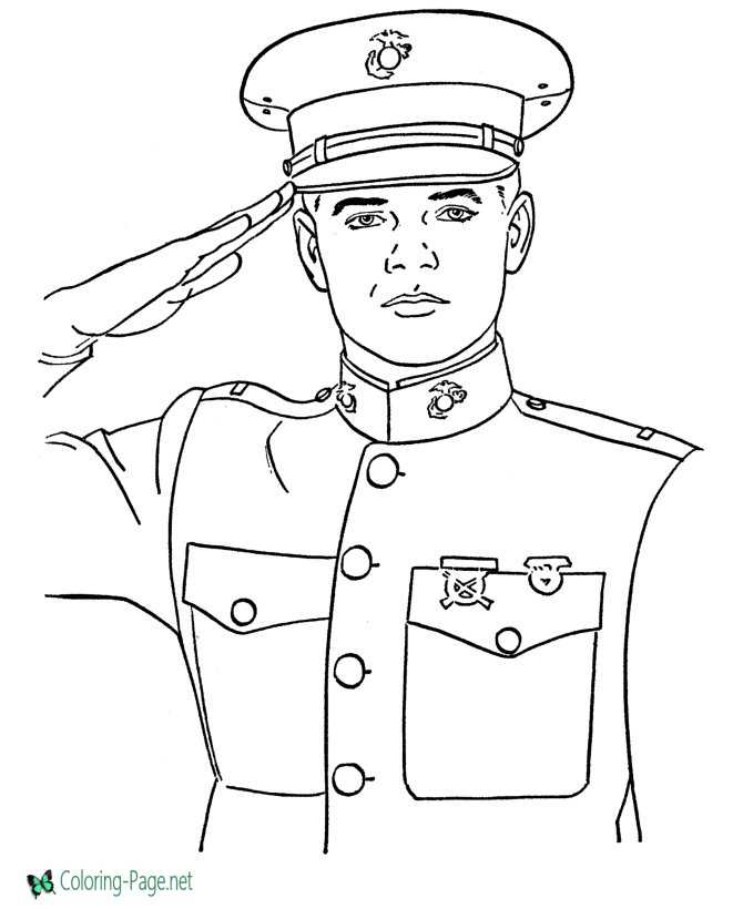 Salute Veterans Day Coloring Pages