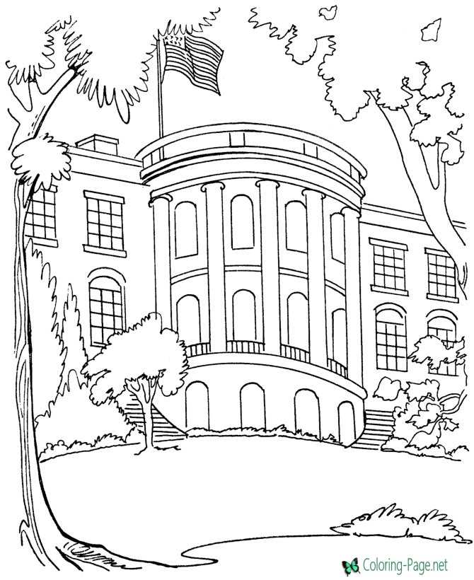 White House Coloring Pages American Flag